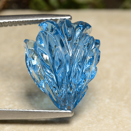 Swiss Blue Topaz Gem - 13.8ct Fantasy Carved Flower (ID: 486262)