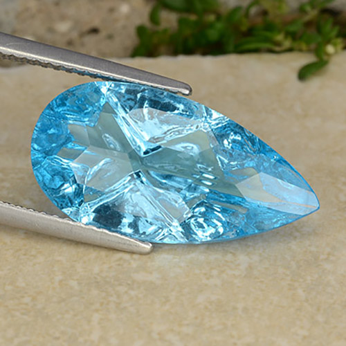 Swiss Blue Topaz Gem - 8.5ct Pear Concave Cut (ID: 486275)