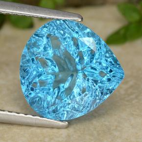 Cyan Blue Topazio Gem - 5.3ct Pear Concave Fantasy Cut (ID: 486288)