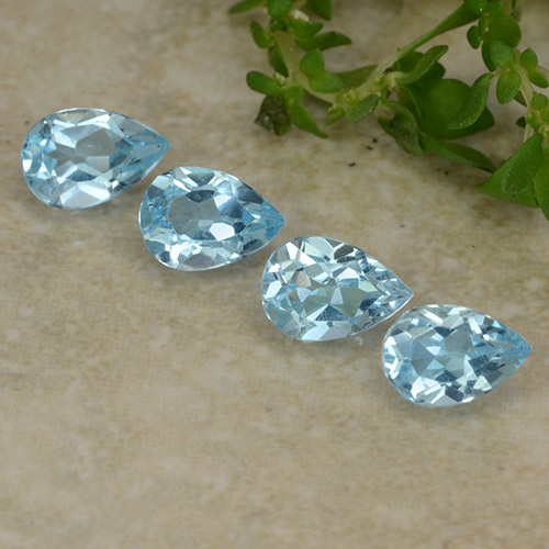 Sky Blue Topaz Gem - 0.6ct Pear Facet (ID: 487122)