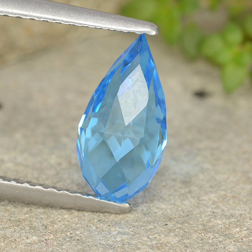 Swiss Blue Topaz Gem - 2.7ct Undrilled Briolette Teardrop (ID: 487356)