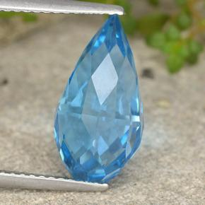 Swiss Blue Topaz Gem - 6.6ct Undrilled Briolette Teardrop (ID: 487357)
