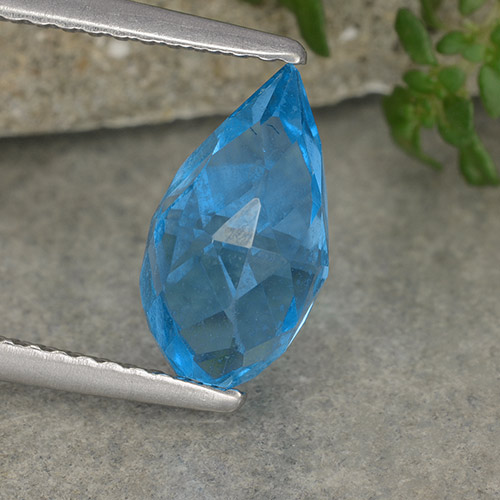 Medium Blue Topacio Gema - 2.7ct Briolette lágrima no perforado (ID: 487704)