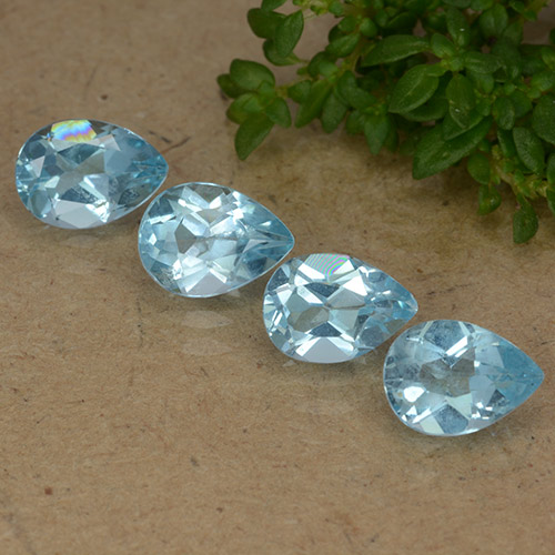 Baby Blue Topaz Gem - 0.9ct Pear Facet (ID: 487833)