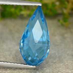 Swiss Blue Topaz Gem - 6.4ct Undrilled Briolette Teardrop (ID: 488713)