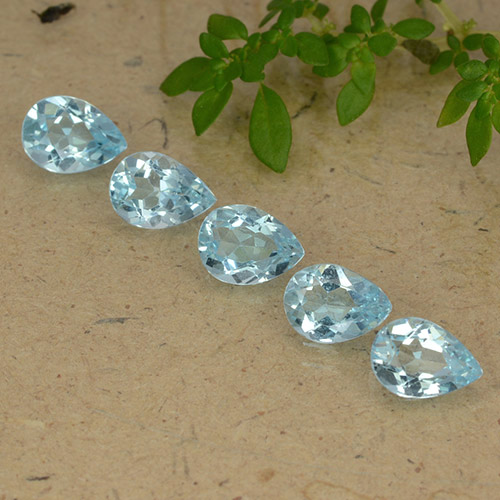 Sky Blue Topaz Gem - 0.8ct Pear Facet (ID: 489296)