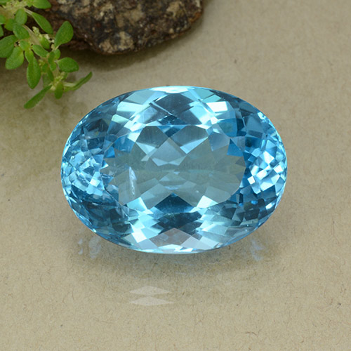 37.4ct Oval Facet Swiss Blue Topaz Gem (ID: 498650)