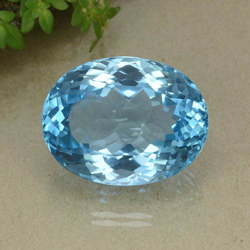 35.7ct Oval Facet Swiss Blue Topaz Gem (ID: 498655)