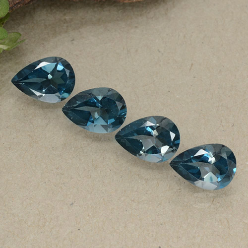 London Blue Topaz Gem - 0.8ct Pear Facet (ID: 498715)