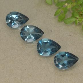 London Blue Topaz Gem - 0.8ct Pear Facet (ID: 498728)