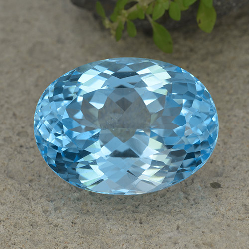 Swiss Blue Topaz Gem - 40ct Oval Facet (ID: 499047)
