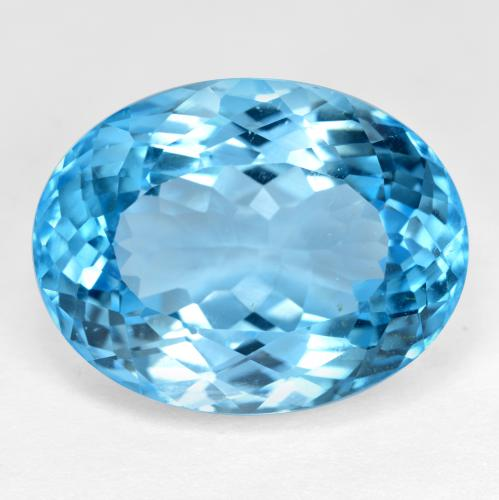 Azure Blue Topaz Gem - 36.4ct Oval Facet (ID: 499051)