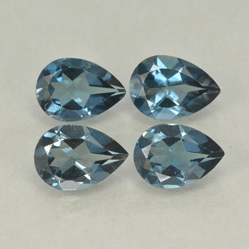 London Blue Topaz Gem - 0.8ct Pear Facet (ID: 499757)
