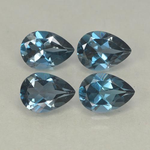 London Blue Topaz Gem - 0.8ct Pear Facet (ID: 499759)