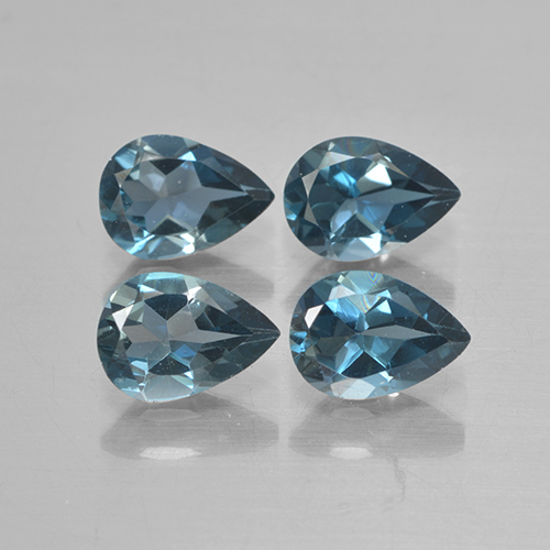 London Blue Topaz Gem - 0.7ct Pear Facet (ID: 499893)