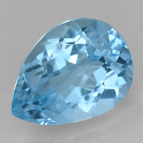 Swiss Blue Topaz Gem - 15.1ct Pear Facet (ID: 500424)