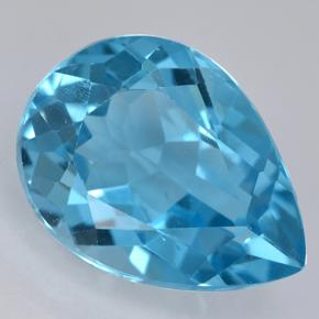 Swiss Blue Topaz Gem - 13.9ct Pear Facet (ID: 500432)