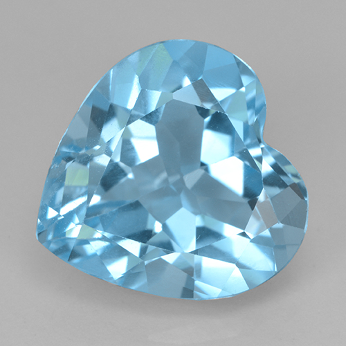 Swiss Blue Topaz Gem - 8.2ct Heart Facet (ID: 501788)