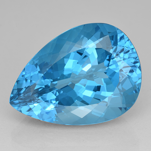 Rich Swiss Blue Topaz Gem - 27.4ct Pear Facet (ID: 503411)