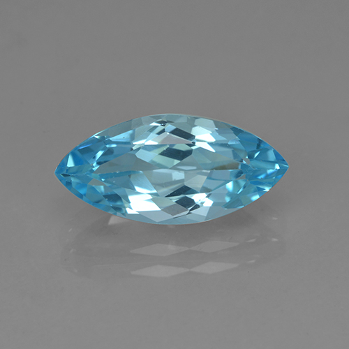 Cyan Blue Topaz Gem - 3.9ct Marquise Facet (ID: 504033)