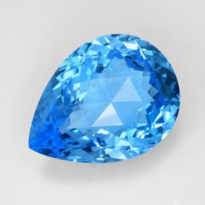 Swiss Blue Topaz Gem - 75.2ct Pear Checkerboard (ID: 505390)