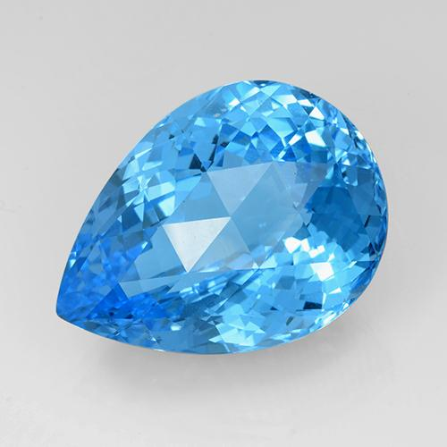Swiss Blue Topaz Gem - 61ct Pear Checkerboard (ID: 505391)