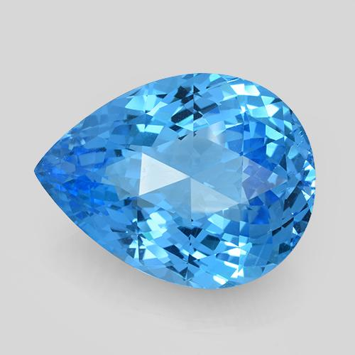 Swiss Blue Topaz Gem - 66.1ct Pear Checkerboard (ID: 505397)