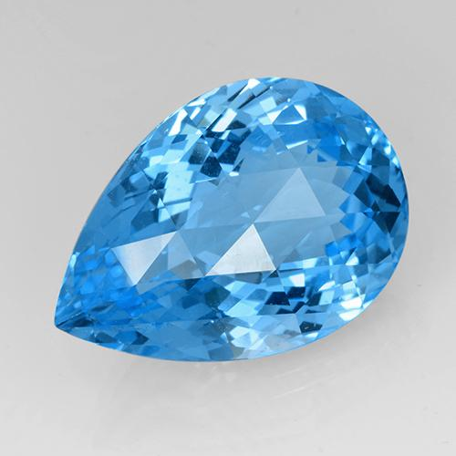 Medium Blue Topaz Gem - 48ct Pear Checkerboard (ID: 505399)