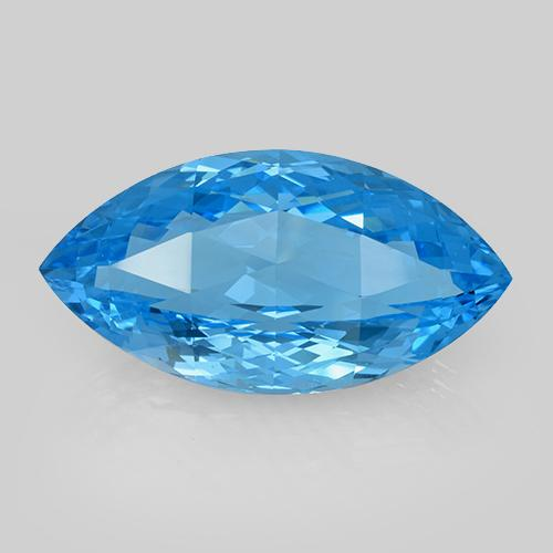 Swiss Blue Topaz Gem - 48.8ct Marquise Checkerboard (ID: 505400)