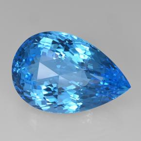 Swiss Blue Topaz Gem - 46.6ct Pear Checkerboard (ID: 505672)