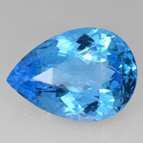 Swiss Blue Topaz Gem - 63.2ct Pear Checkerboard (ID: 505679)