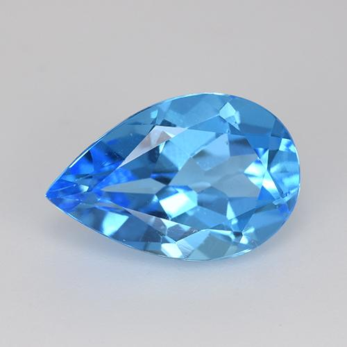 Swiss Blue Topaz Gem - 5.6ct Pear Facet (ID: 511193)