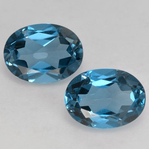 London Blue Topaz Gem - 1.6ct Oval Facet (ID: 528715)