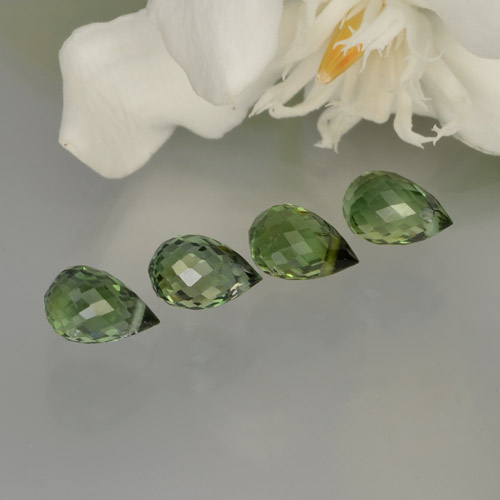 Green Tourmaline Gem - 0.5ct Briolette with Hole (ID: 260739)
