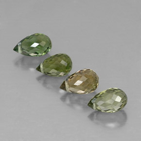 Multi Green Tourmaline Gem - 0.6ct Briolette with Hole (ID: 320769)