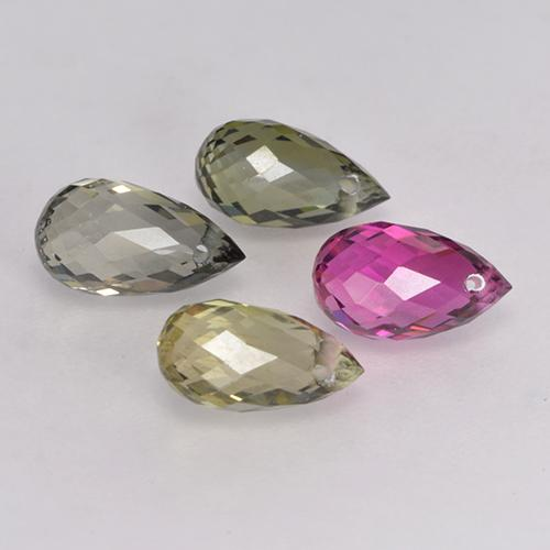 Multicolor Tourmaline Gem - 0.7ct Briolette with Hole (ID: 334769)