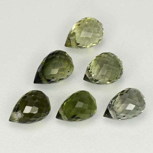 0.49 ct Briolette with Hole Multi Green Tourmaline Gemstone 5.18 mm x 3.7 mm (Product ID: 335567)
