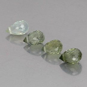 Multi Green Tourmaline Gem - 0.6ct Briolette with Hole (ID: 335578)