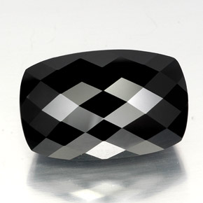 Black Tourmaline Gem - 40.6ct Cushion Checkerboard (ID: 348196)