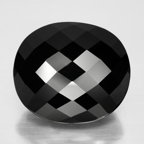 29.61 ct Oval Checkerboard Black Tourmaline Gemstone 19.81 mm x 17.2 mm (Product ID: 348312)