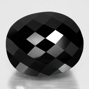 32.34 ct Oval Checkerboard Black Tourmaline Gemstone 19.93 mm x 16.4 mm (Product ID: 348314)