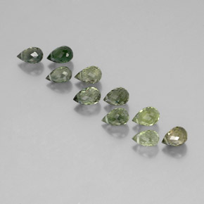 Green Tourmaline Gem - 0.6ct Briolette with Hole (ID: 351995)