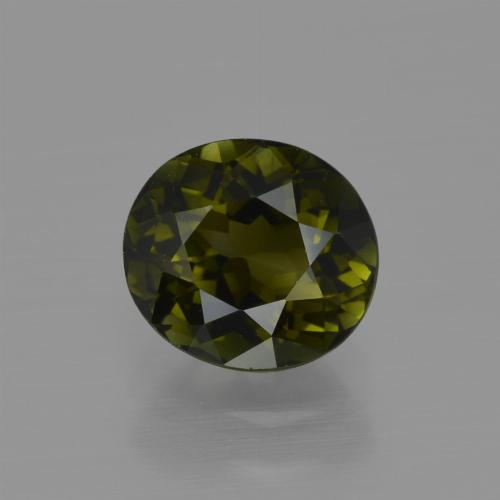 1.3ct Oval Facet Brownish Green Tourmaline Gem (ID: 413163)