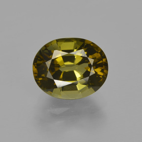 1.8ct Oval Facet Warm Forest Green Tourmaline Gem (ID: 413332)