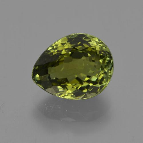 3.36 ct Pear Facet Golden Green Tourmaline Gemstone 10.03 mm x 8 mm (Product ID: 417937)