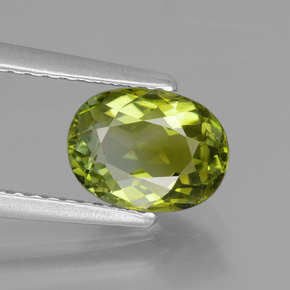 1.42 ct Oval Facet Yellowish Green Tourmaline Gemstone 7.95 mm x 6 mm (Product ID: 441166)