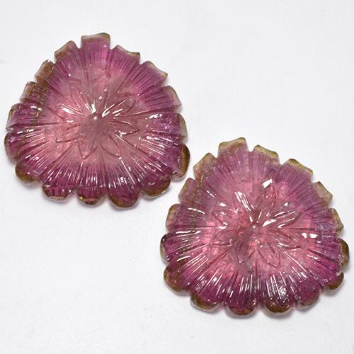 Bi-color Tourmaline Gem - 38.6ct Carved Flower (ID: 521272)