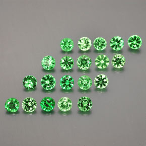 Medium Green Granato tsavorite Gem - 0.1ct Taglio brillante (ID: 380356)