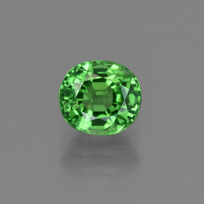 1.41 ct Oval Facet Medium Green Tsavorite Garnet Gemstone 6.47 mm x 5.9 mm (Product ID: 415334)