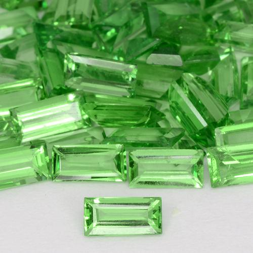 Green Tsavorite Garnet Gem - 0.1ct Baguette Step Cut (ID: 509602)
